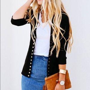 Sweaters - Black Three-Quarter Sleeve Snap Cardigan